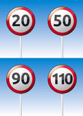 Speed limit traffic sign set — Stock Vector