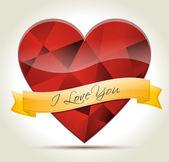 Cuore diamante-i-love-you — Vettoriale Stock