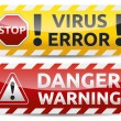 Virus warning banner — Stock Vector