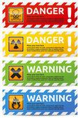 危険バナー 4 カラー版コレクション — ストックベクタ