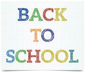 Torna a scuola - penna stile testo su carta libro excersise. — Vettoriale Stock
