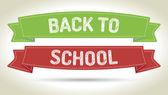 Powrót do szkoły - pióro stylu tekstu na kolorowe wstążki z cieniem — Wektor stockowy