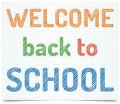 Willkommen sie zurück in der schule - stift stil text auf excersise-buch-papier. — Stockvektor