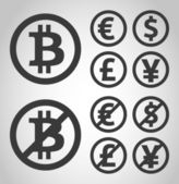Bitcoin, euro, dollar, font and yen money icons — Stock Vector
