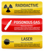Radioactive, Poisonous Gas, Laser - Danger sign set — Stock Vector