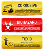 Corrosive, Biohazard, Toxic - Danger sign set — Stock Vector