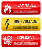 Flammable, High Voltage, Explosive - Danger sign set — Stock Vector
