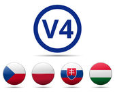 V4 Visegrad group country flag — Stock Vector