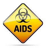 艾滋病 hiv 病毒生物危害危险的信号反射和阴影上 — 图库矢量图片