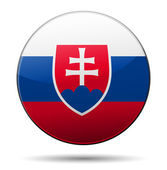 Slovakia flag button with reflection and shadow. Isolated glossy — Stock Vector