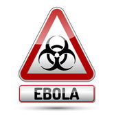 Ebola virus danger sign with reflect and shadow on white backgro — Stock Vector