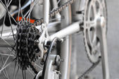 Rear bike cassette on the wheel with chain — Stock Photo