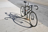 Bicycle locked up on the street in Toronto — Stock Photo