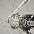 Stock Photo: Bicycle rear wheel with chain & sprocket