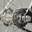 Bicycle rear wheel with chain & sprocket — Stock Photo #35368437