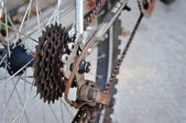 Dirty bicycle of rear sprocket wheel — Stock Photo