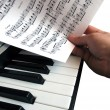 Piano music with hand — Stock Photo
