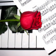 Royalty-Free Stock Photo: Rose and piano