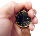Wrist watch on hand isolated — Stock Photo