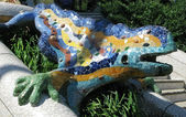 Barcelona symbol: ceramic dragon fountain at Parc Guell, the famous and beautiful park designed by Antoni Gaudi, one of the highlights of the city — Stock Photo