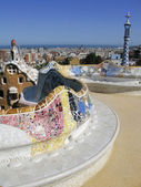 Barcelona: View from Parc Guell, the famous and beautiful park designed by Antoni Gaudi, one of the highlights of the city — 图库照片
