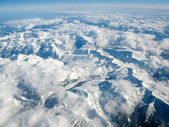 Aerial view of Pyrenees mountains, between Spain and France, cov — Stockfoto