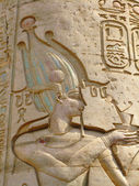 Temple of Kom Ombo, Egypt: relief of the Pharaoh — Stock Photo