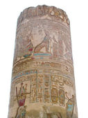 Temple of Kom Ombo, Egypt: column with polychromed carvings — Stock Photo