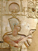 Temple of Kom Ombo, Egypt: polychromed relief of the Pharaoh — Stock Photo
