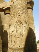 Temple of Kom Ombo, Egypt: column with relief of Horus, the anci — Stock Photo