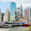 Ships on historic South Street Seaport and Pier 17, with lower M — Stock Photo