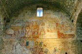 Ancient fresco paintings on the byzantine fortress of Mystras — Stock Photo