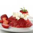 Stock Photo: Mashed strawberry and mascarpone on white plate