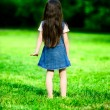 Girl lost in summer time outdoor in city park — Stock Photo
