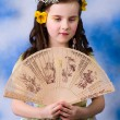 Princess - little girl sitting on background in studio — Stock Photo