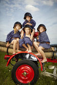 Firemen children — Stock Photo