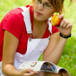Girl in summer park relaxing — Stock Photo #30721115