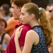Festival lady enjoying day on open air music concert — Lizenzfreies Foto