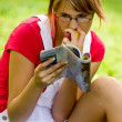 Girl in summer park relaxing — Stock Photo