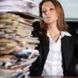 lady in office tired of weather, hot and lot of work — Stock Photo