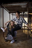 Young couple of workers — Stock Photo