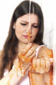 Young woman playing with melted Jelly — Stock Photo