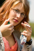 Girl outdoor smoking cigarettes — Foto Stock