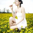 Young female model on outdoor meadow — Stock Photo