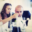 Wedding couple eating  — Stock Photo