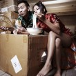 Asian couple eating — Stock Photo