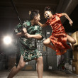 Asian couple fighting — Stock Photo