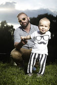 Father with son on the nature — Stock Photo