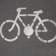 Bicycle road sign painted on the pavement — Stock Photo #33590659