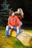 Couple in the mountain enjoying date — Stock Photo